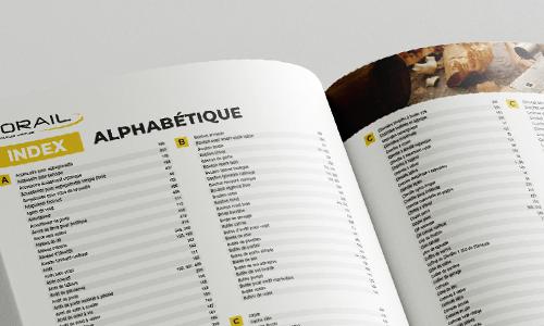 Index alphabétique produits du catalogue Norail